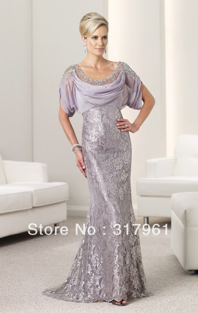 Spring Modest Tony Silver Pink Beads Sequin Floor Length Mother Of The Bride Dresses With Short Sleeves P Accessories