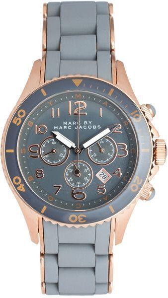 Montre pour femme : Marc By Marc Jacobs Grey And Rose Gold Chronograph Bracelet Watch at asos.com