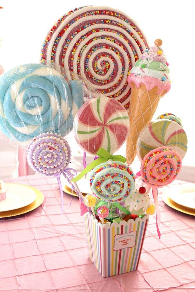 Pastel carousel baby shower centerpiece! See more party planning ideas at CatchMyParty.com!