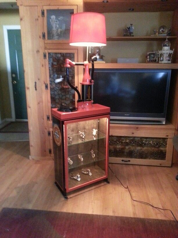 American Made Furniture >> Repurposed antique bulk oil lubester custom made into a display cabinet and floor lamp. For sale ...