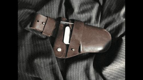 New, improved leather holster inspired by an era bygone for iPhone, Android sidekicks and for small travel items (pens,tickets, bills)