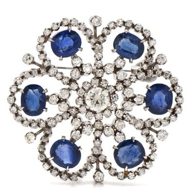 18K White Gold 3.62 CTW Diamond and 8.00 CTW Sapphire Floral Motif Brooch