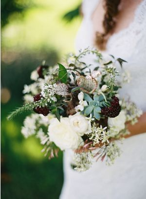Burgundy, white and cream bouquet | photo by Eric Kelley