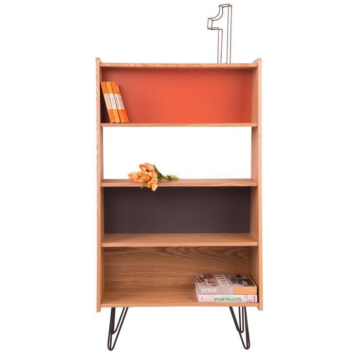 Marcel Display Unit with 4 Shelves - MDF Wood with Oak Veneer & Painted Finish - Modern Furniture for Home - Burnt Orange/White/Grey