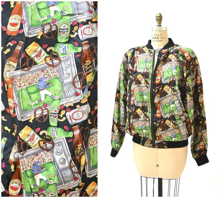 90s Nicole Miller Vintage Silk Bomber Jacket with Football Mens Sports Super Bowl Beer Print// Mens Football Jacket Sports Beer Print by Hookedonhoney on Etsy