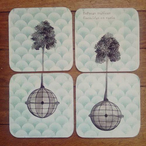 """"""" Esporas mágicas florecidas en vuelo """" set de 4 posa vasos pieza única #Himallineishon #coasters #illustration #handpainted #homedecore #tree"""