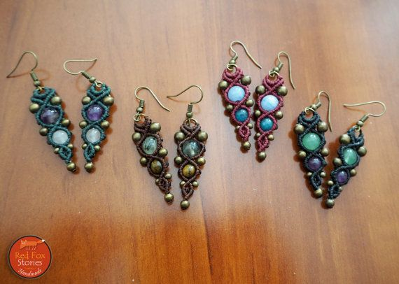 Macrame boho earrings with gemstones Macrame by RedFoxStories