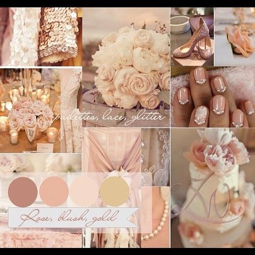 Rose, Gold and Blush wedding theme with a touch of sparkle! Love! # ...