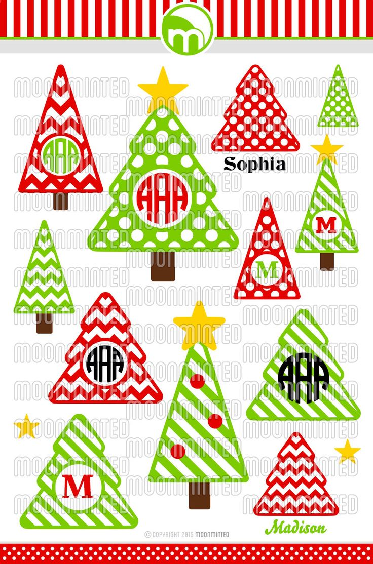 Christmas Tree SVG Cut Files - Monogram Frames for Vinyl Cutters, Screen Printing, Silhouette, Die Cut Machines, & More by MoonMinted on Etsy https://www.etsy.com/listing/241346375/christmas-tree-svg-cut-files-monogram