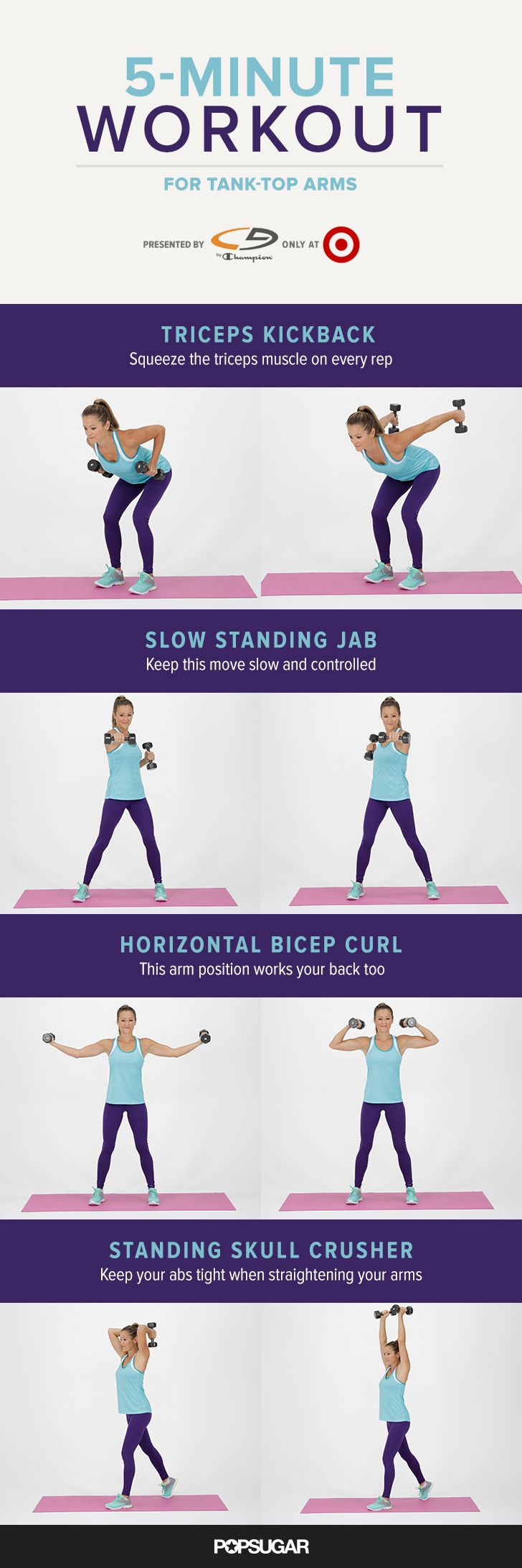 5-minute Arm Workout Routine For Women At Home or At The Gym. These moves will help strengthen and tone your arms.