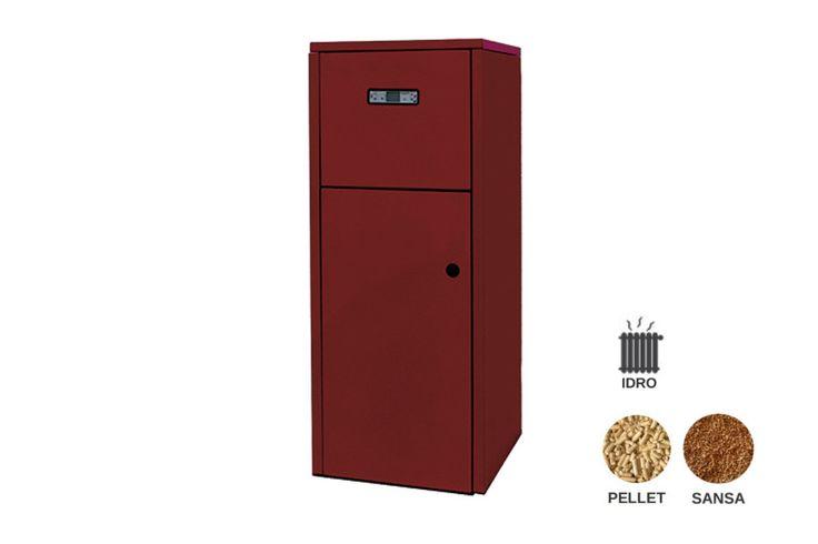 Caldaia multicombustibile a pellet e sansa idro. Progettata per essere installata in locali di servizio. Deve essere collegata OBBLIGATORIAMENTE all'impianto idraulico di riscaldamento.