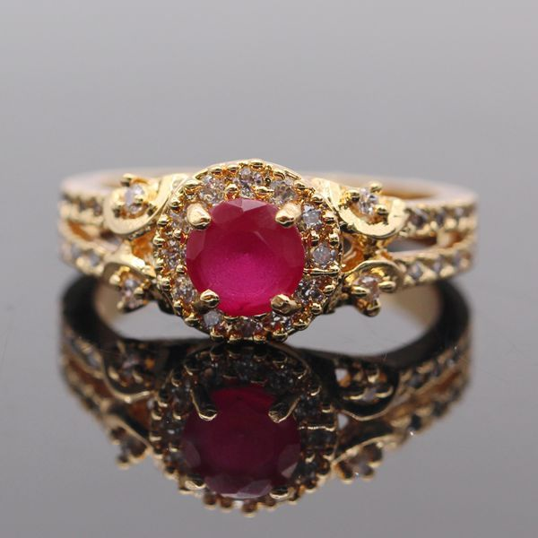 Estilo simples 18 K Banhado A Ouro Natural Ruby & Emerald AAA Anel CZ Para As Mulheres da Festa de Casamento 2 cores