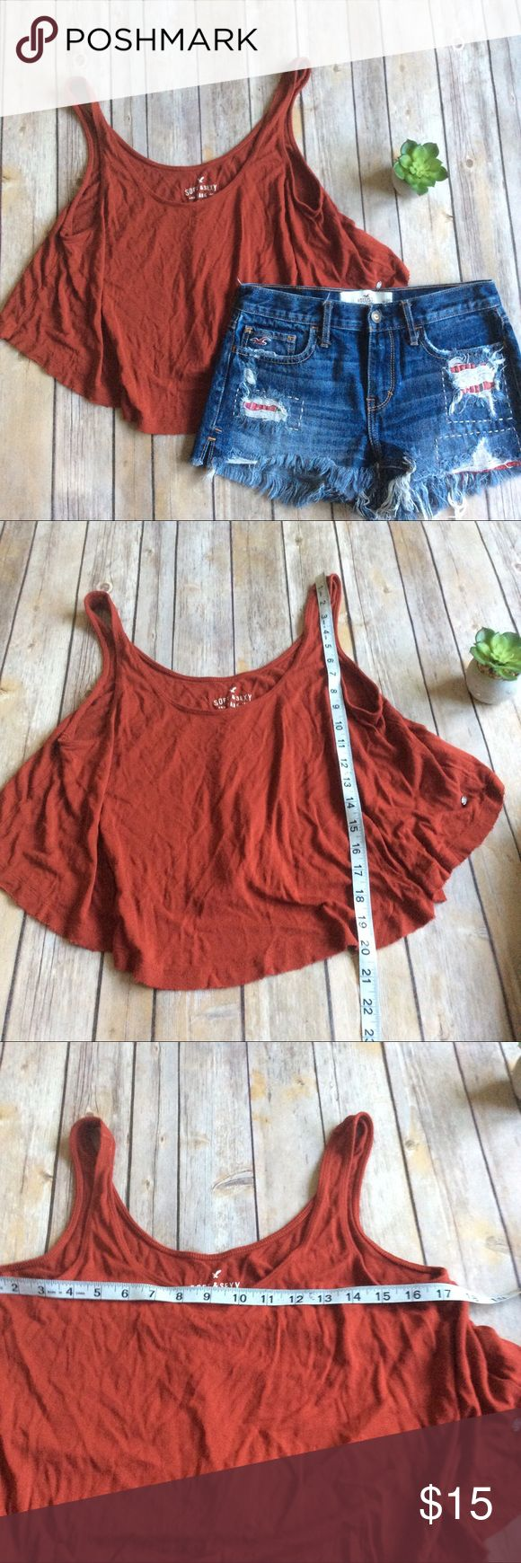 American Eagle Soft & Sexy Cropped Tank sz Medium Like new rust red loose fit cropped Tank from American Eagle ❌no trades, holds, or lowball offers. ✅Clean and smoke free home, quick shipping, bundle discount, always! 🎁Free gift with $15+ bundle. American Eagle Outfitters Tops
