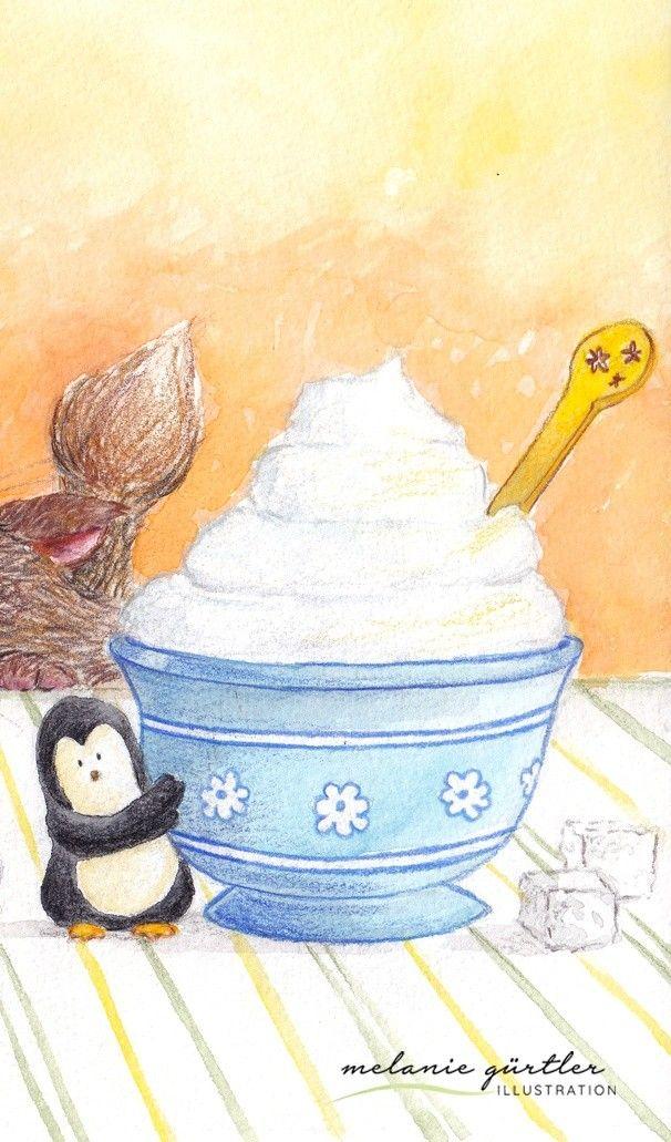 Pinguin Und Sahne Aquarell Und Buntstift