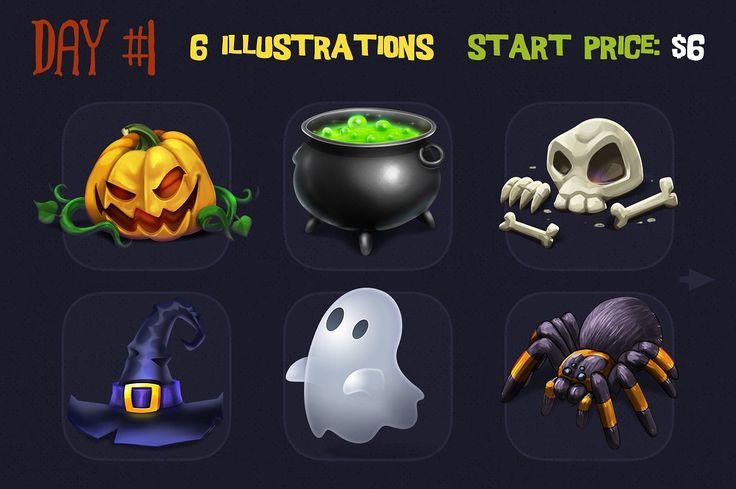 Qliwon: Halloween Iconic Set by weirdStore on @creativemarket