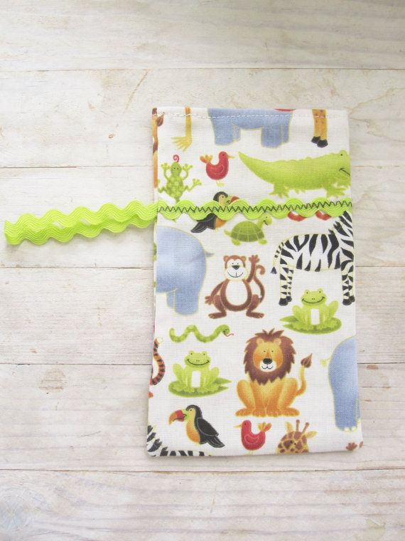 Mobile phone cell phone pocket pouch case wallet cover soft zoo animal lion zepra monkey frog lime green ribbon decor loop secured kids gift