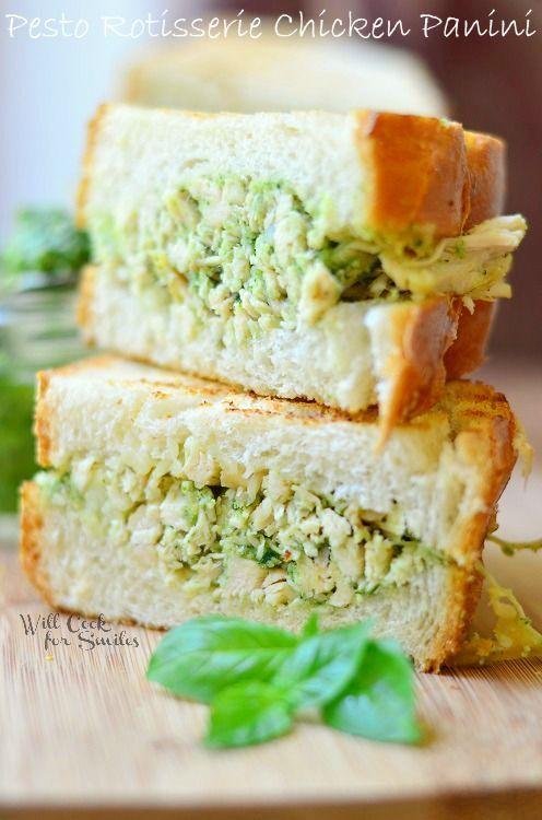 Pesto Rotisserie Chicken Panini | from willcookforsmiles.com | #chicken #pesto #panini