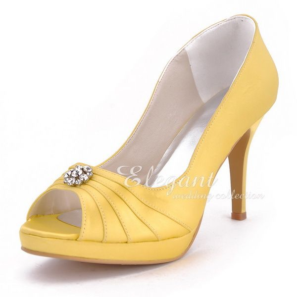 Free Shipping by DHL 2013 Sweet Girls Yellow Shoes EP2037 Peep Toe Rhinestone Platform Stiletto Heel Satin Wedding Party Pumps $79.99