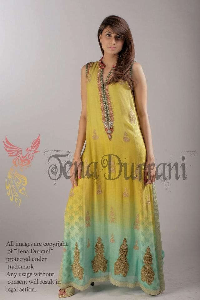 Item: Marquis - Aqua & lime shaded Cotton Net w/ embroidery    Product Code: Q21a    Model: Aisha S    Makeup: Bina Khan