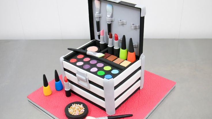 ~MakeUp Cosmetics Box Cake Nail Polishes & Lipsticks Toppers How To by Cakes StepByStep~