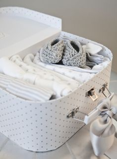 boxwood clippings_baby suitcase  to take to the hospital  - great baby shower gift. - maybe one for mama as well?