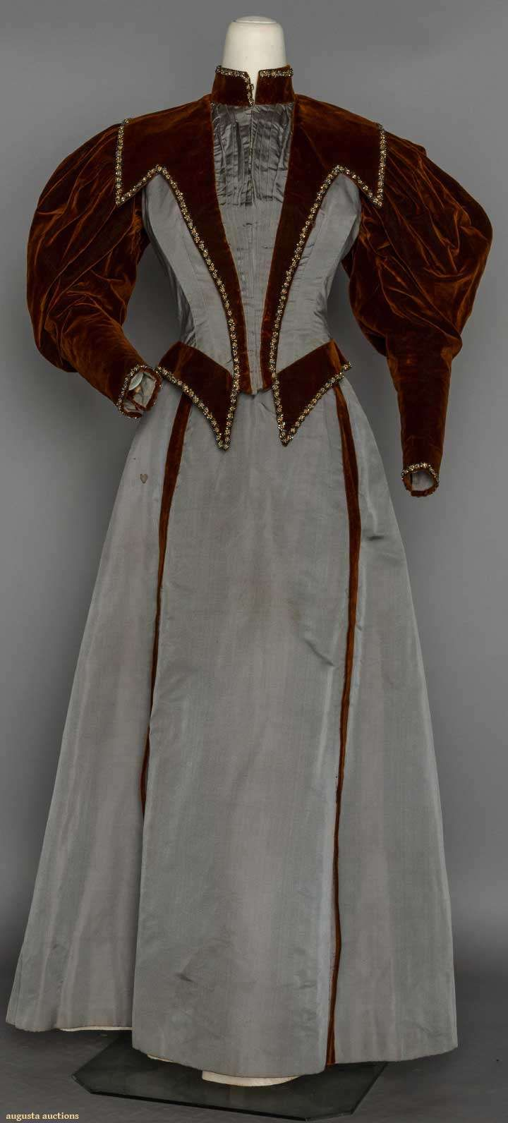 Two-tone Afternoon Dress, C. 1895, Augusta Auctions, November 11, 2015 NYC