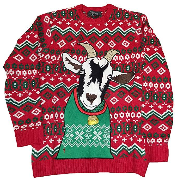 Christmas Goat With Bell Red Pullover Sweater Christmas