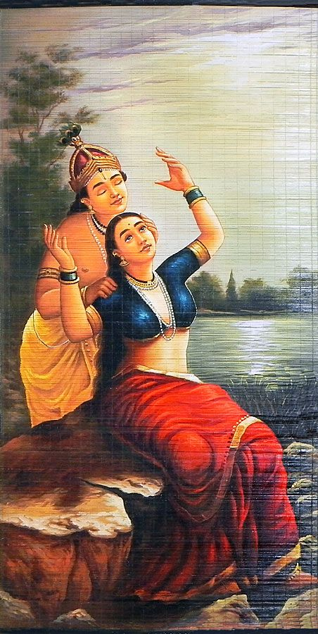 Radha Madhav - Raja Ravi Varma Painting (Wall Hanging) (Painting on Woven Bamboo Strands))
