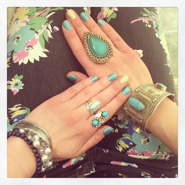Baby blue and yellow nails with Bohemian jewelry