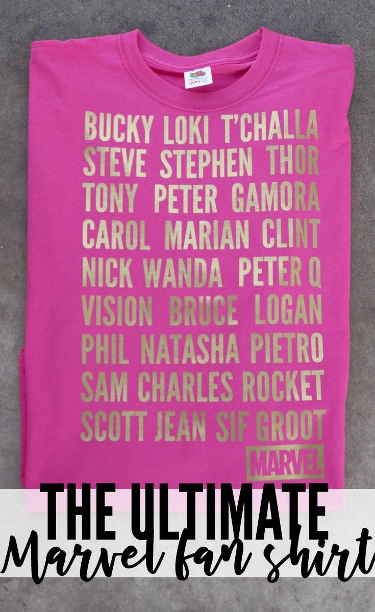 Ultimate Marvel Fan Gold Iron On Vinyl Shirt with Cricut