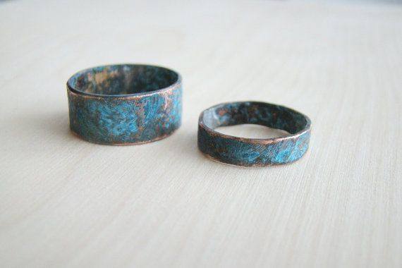 His and her ring set, rustic hammered copper set of rings, Alternative Wedding Bands, Matching Couple Rings handmade #ornamention