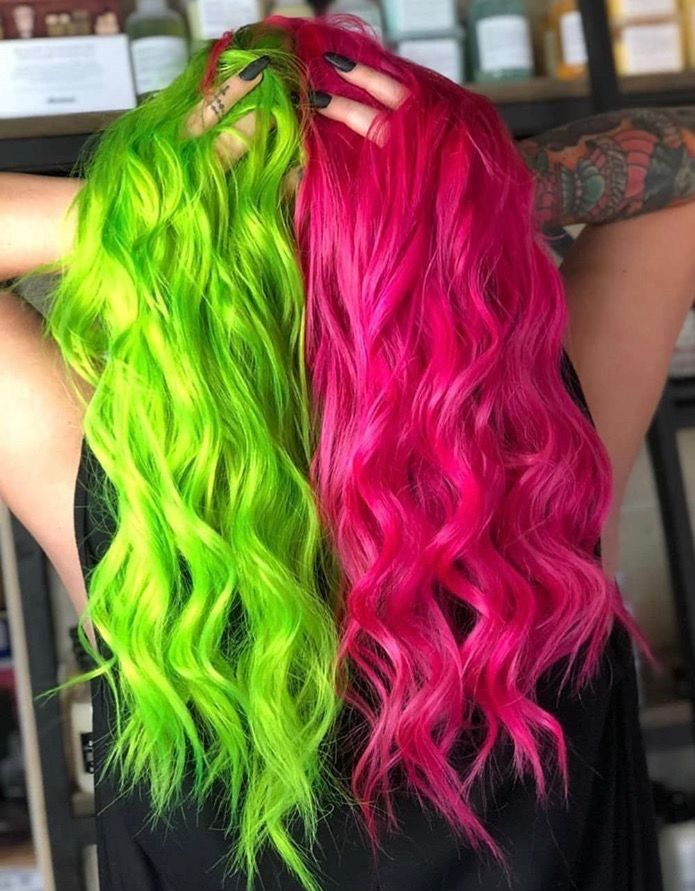 Pin By Hala Altamimi On I M As Free As My Hair Split Dyed Hair Two Color Hair Hair Inspo Color