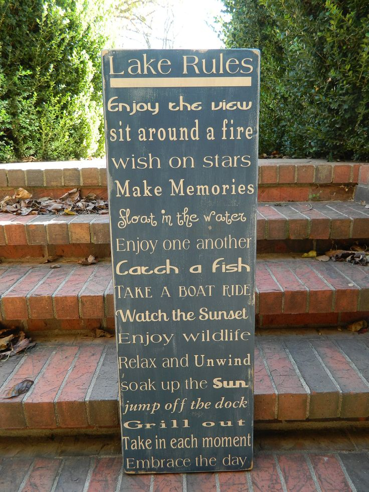 Lake house rules wood sign 12x36 by CountryFolksCreation on Etsy  Great gift !