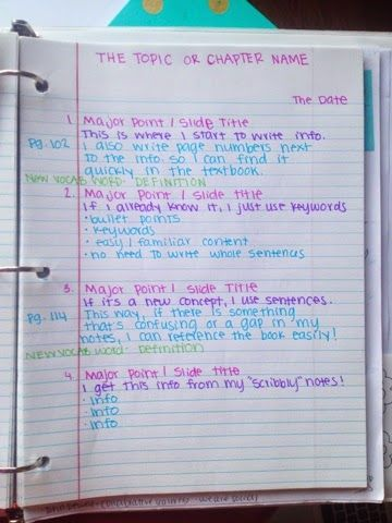 How to color-code and format your class notes! This is a great idea. I would also make up a cheat sheet straight away, and fill in the vocabulary sheet.