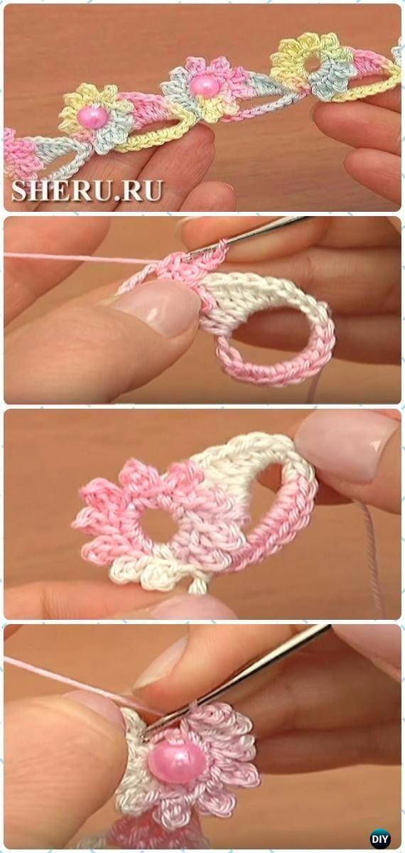 Crochet Bead Flower Cord Free Pattern [Video] -Crochet Cord Free Patterns