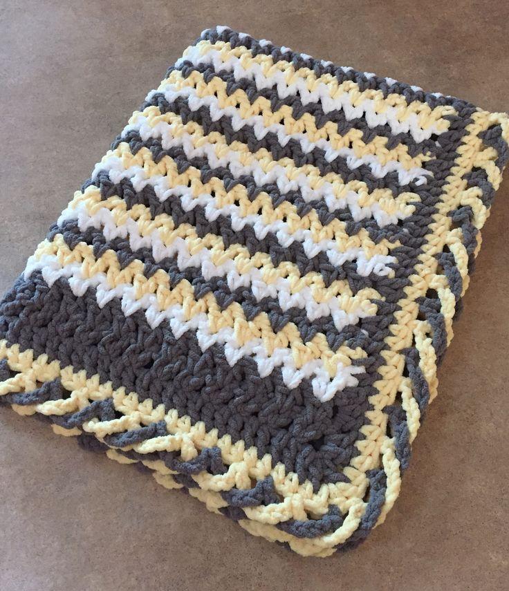 Crib Size Blanket Yellow/white/gray with crisscross edge. Super soft Bernat baby blanket yarn