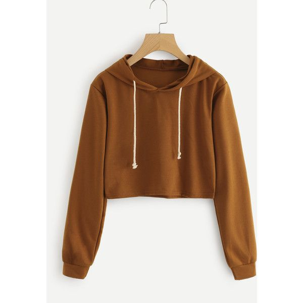 Crop Hooded Sweatshirt ($9.99) ❤ liked on Polyvore featuring tops, hoodies, camel, cropped hoodies, sweatshirt hoodies, long sleeve hooded sweatshirt, long sleeve crop top and long sleeve hoodies