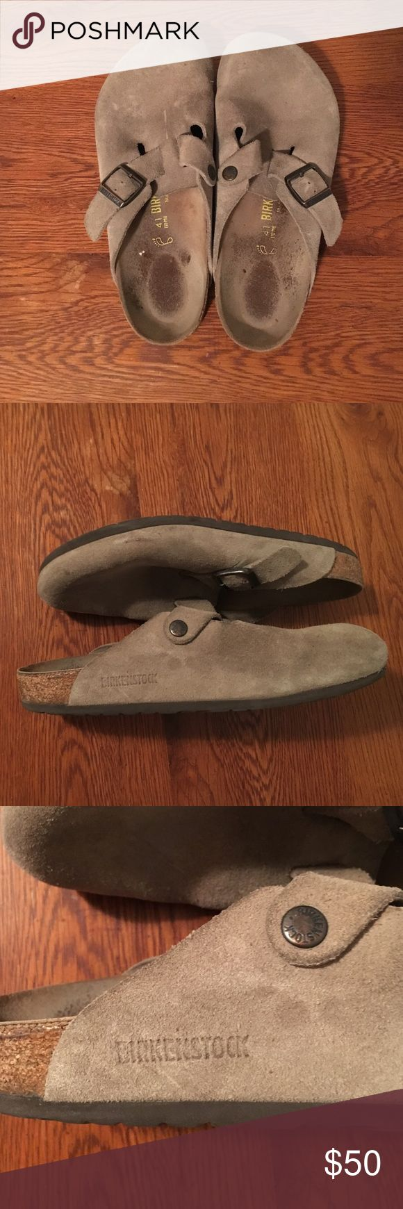 Birkenstock Boston Suede Clogs for sale! Lovingly warn Boston Suede Birkenstock Clog! So comfy, classic and awesome! Great deal! Birkenstock Shoes Mules & Clogs
