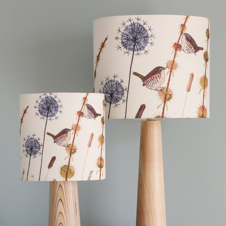 This lampshade, part of my Garden Birds Collection, features two wrens on grasses and is a high-quality reproduction of my original wren textile piece. This is a beautiful way to bring a little bit of nature into your home and it produces a lovely glow when illuminated.