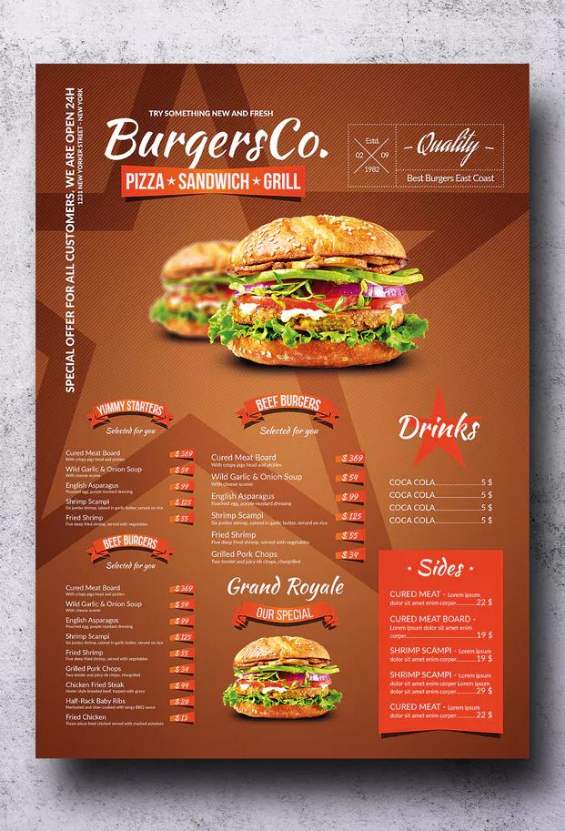 American Burgers A3 Poster Menu Template Psd Easy To Customize