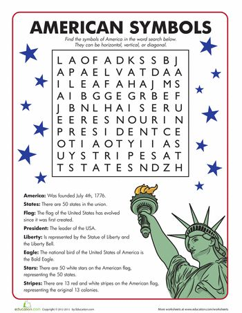 Worksheets: American Symbols Word Search