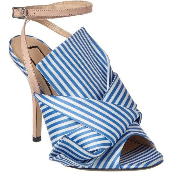 N 21 N 21 N21 Ronny Striped Satin Leather Mule Sandal Products ❤ liked on Polyvore featuring shoes, sandals, leather footwear, leather mules shoes, n21 sandals, mule sandals and stripe shoes