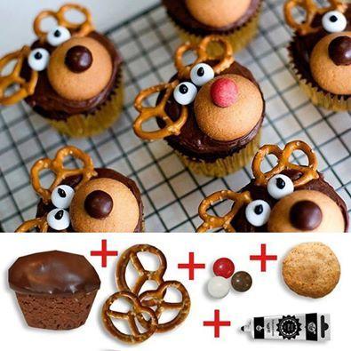reindeer cupcakes...soooo easy to make. Nilla wafers, candy eyeballs, pretzels, and dark chocolate chips.