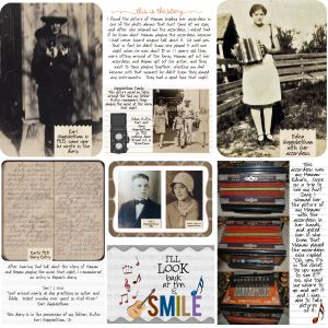I was browsing the web and this caught my eye. This is just the look I am wanting to achieve incorporating my genealogy and family history into a Project Life album :-)