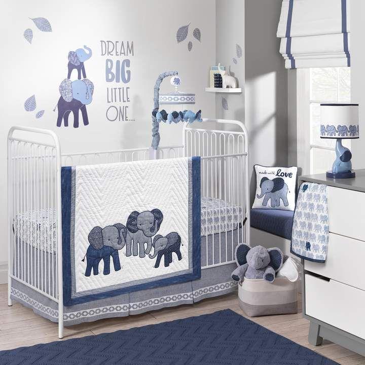 Lambs Ivy 3 Pc Indigo Elephants Crib Bedding Set Elephant