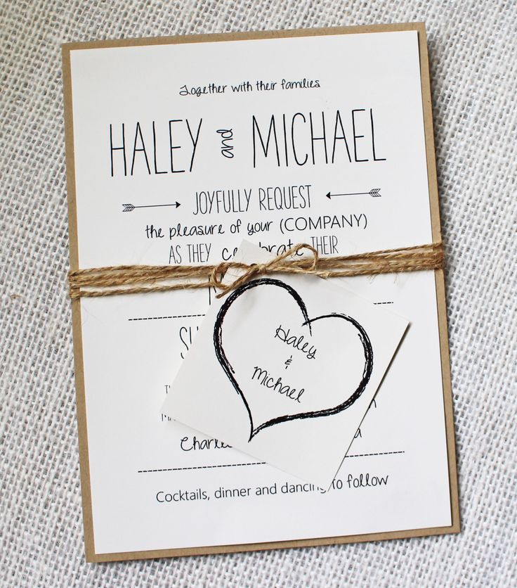 Fully customized eco-material invitation, accentuated by twine and creative tag @evapfriesen