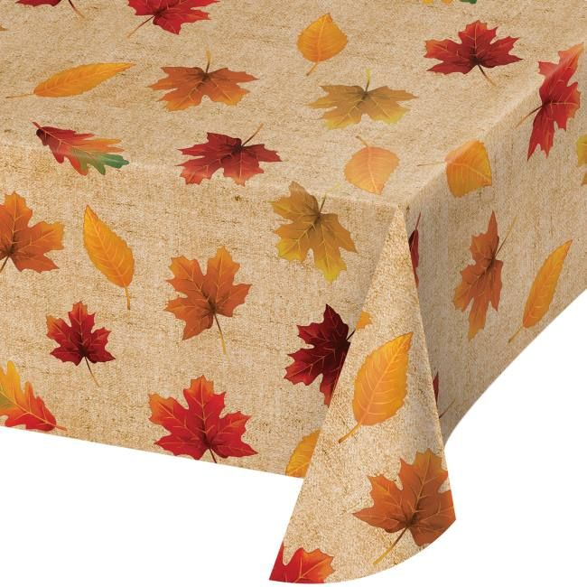 Thanksgiving Harvest Plastic Tablecover Autumn Leaves Party Tablecloth