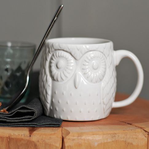 Owl mug, $10: Westelm, Memorial Cups, Hot Chocolate, Memorial Mugs, Measuring Cups, Owl Mugs, Memorial Mornings, West Elm, Figures Owl