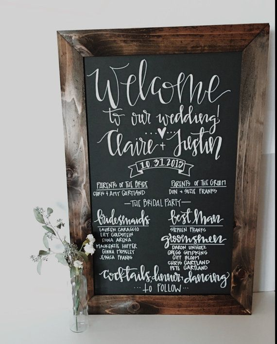 Wedding program, reclaimed wood chalkboard sign!>>  <<Sign is handwritten>>  This is a custom made reclaimed wood frame, with a chalkboard inside. This is 22 inches wide by 33inches tall. PLEASE NOTE: as each frame and sign are handmade and handwritten, each framed piece might vary slightly from the picture above. >> Upon purchase please list -Name of Bride and Groom -date of wedding -names of parents -names of bridal party -name of best man and maid of honor  Want it to say something…