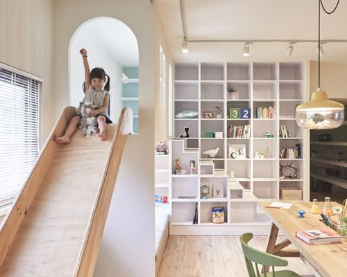 HAO design's apartment renovation in taiwan includes a children's slide